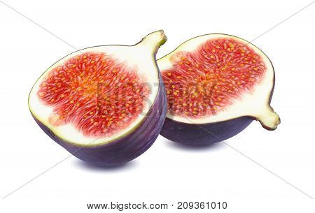 Fresh fig cut halves isolated on white background as package design element