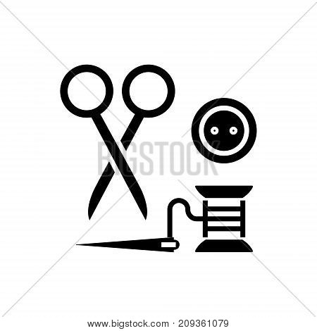 sewing - scissors, thread, needle, button icon, illustration, vector sign on isolated background