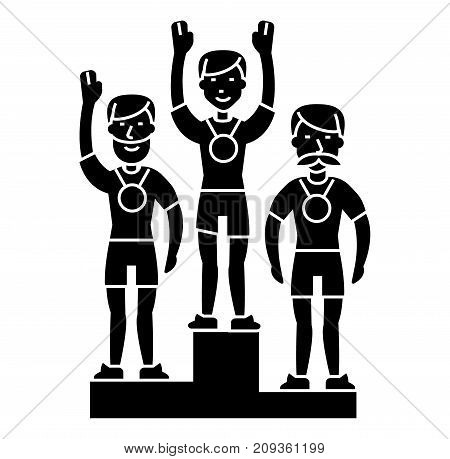 winner podium sport team - first place - olympics icon, illustration, vector sign on isolated background