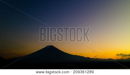 Silhouette of Mt.Fuji at Sunset in Japan