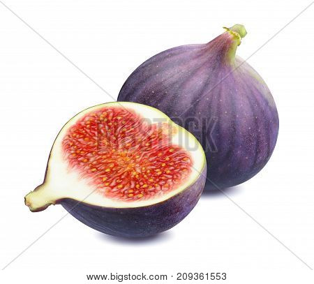 Fresh fig whole and half isolated on white background as package design element