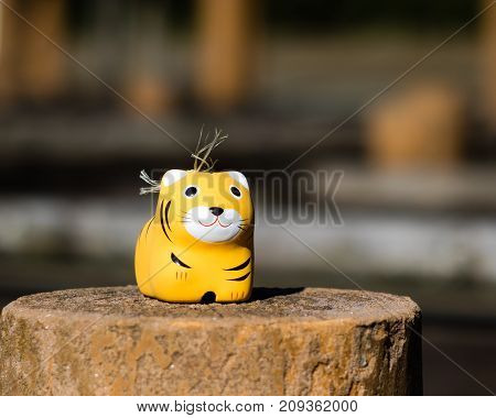 A model tiger that is actual a Shinto fertility charm.