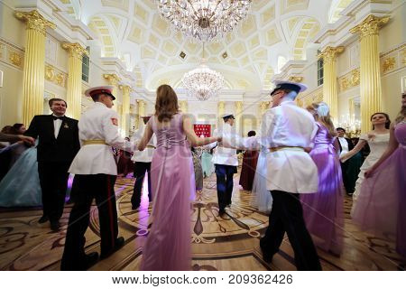MOSCOW - SEP 16, 2017: Dancing people at Great Catherine Ball (dance party) in Tsaritsyno