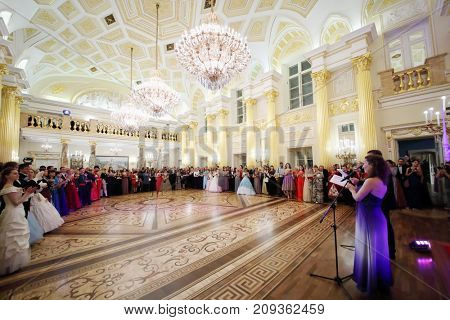 MOSCOW - SEP 16, 2017: Many guests at Great Catherine Ball (dance party) in Tsaritsyno