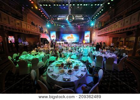 MOSCOW - JUN 8, 2017: Tables with serving at Award Records of real estate market 2017 in Golden Palace