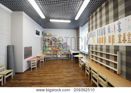 MOSCOW - MAY 24, 2017: (with property release) Playroom with shelves in Family Club Forest of Wonders created to develop the creative abilities and intelligence of child