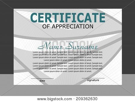 Certificate of appreciation template. Elegant design. Vector illustration.