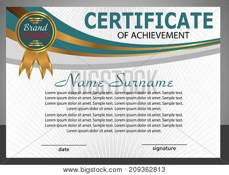 Certificate of achievement template. Elegant design. Vector illustration.