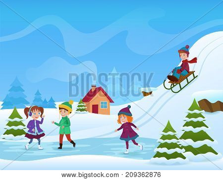 Vector Illustration of cheerful kids ice skating and sledging in winter. Winter holifays card