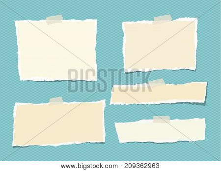 White and beige ripped strips, notebook, note paper for text or message stuck on turquoise background