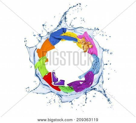 Colored clothes rotates in a swirling splashes of water on white background