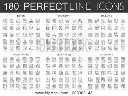 180 outline mini concept icons symbols of school, stationery, education, online training, brain mind process, data science icon isolated.