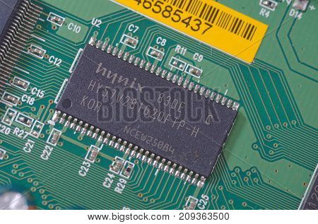 SARANSK, RUSSIA - OCTOBER 06, 2017: Hynix chip on circuit board.