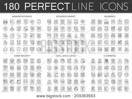 180 outline mini concept infographic symbol icons of finance banking, economics market, imsurance, cyber security, legal laws and justice, e-commerce isolated.
