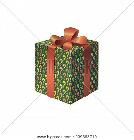 A colorful gift box with question marks print isolated vector illustration