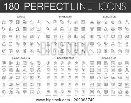 180 modern thin line icons set of school, stationery, education, online learning, brain process, data science isolated