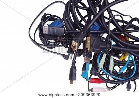 Various computer cables on a white background.
