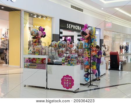 Bucharest Romania October 04 2017 : A small boutique of sweets and toys in the central hall of the shopping center in the city of Bucharest in Romania.