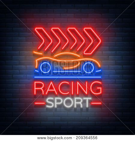 Racing Sports neon logo emblem pattern. A glowing sign on the theme of the races. Neon sign, light banner. Vector illustration.