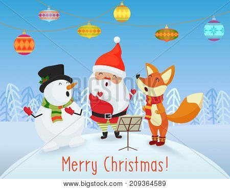 Vector Happy Christmas card with Santa Claus, Snowman and Fox friends together.