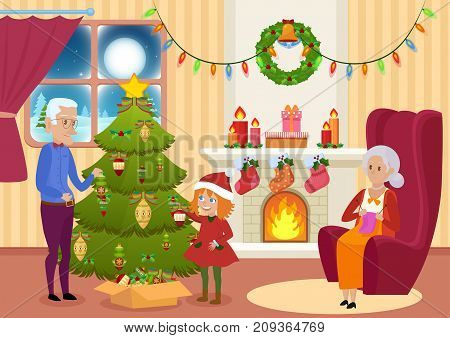 Vector illustration of granddaughter and grandfather decorating Christmas tree while grandmother knitting.