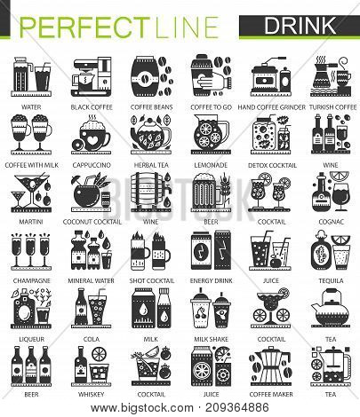 Drinks and beverages classic black mini concept symbols. Vector drink modern icon pictogram illustrations set