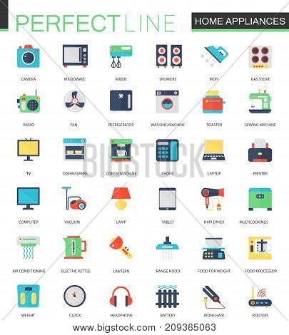 Vector set of flat Home appliances icons isolated