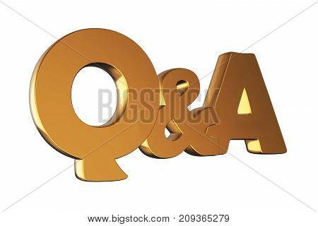 Questions and answers concept gold Q and A text isolated on white. 3D render illustration.