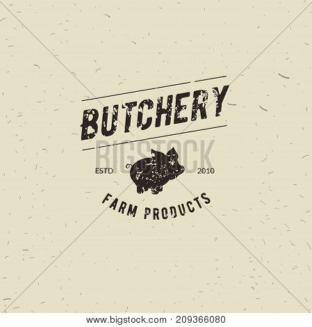 Emblem of Butchery meat shop with Pig silhouette text The Butchery Fresh Meat farm products. Logo template for meat business - farmer shop market restaurant or design - banner sticker