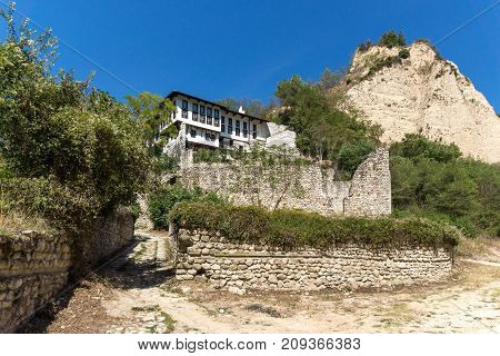 Old houses, sand pyramids and ruins of Saint Barbara church in town of Melnik, Blagoevgrad region, Bulgaria