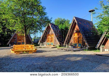 Triangular wooden lodges at an eco-resort in Legau Germany (Bavaria)