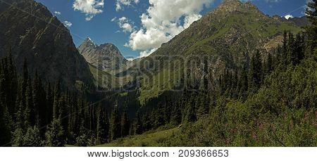 landscape mountains Tien Shan ridges of Kyrgyzstan