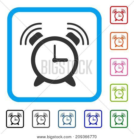 Alarm Clock Ring icon. Flat grey pictogram symbol inside a light blue rounded frame. Black, gray, green, blue, red, orange color additional versions of Alarm Clock Ring vector.