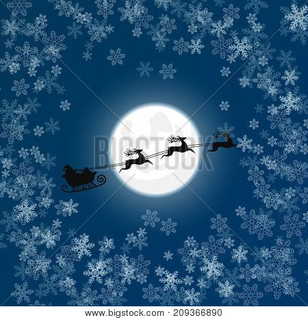 Vector illustration of silhouette of Santa in snow flying sledge over moon. Christmas card