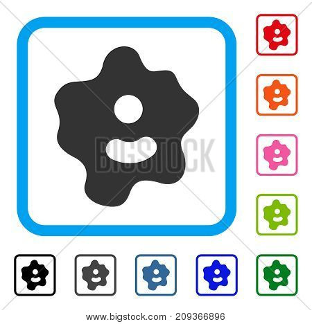 Ameba icon. Flat gray iconic symbol inside a light blue rounded squared frame. Black, gray, green, blue, red, orange color versions of Ameba vector. Designed for web and application UI.