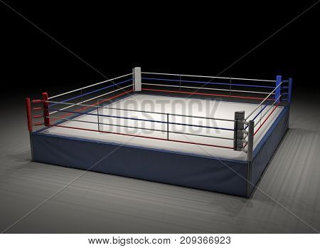 3d rendering of an empty boxing ring spotlighted in the dark. Boxing and fighting sports. Professional fighting. Sparring and competition.