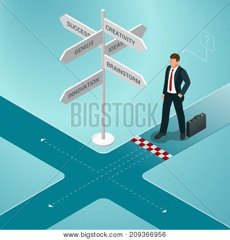Isometric business directions. Businessman standing at a crossroad and looking directional signs arrows in difficult choice concept and startup