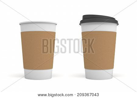 3d rendering of two white coffee cups with carton sleeves one, one cup with a black lid and one open. Takeout coffee. Coffee shop.