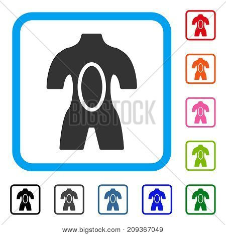 Anatomy icon. Flat gray pictogram symbol in a light blue rounded rectangular frame. Black, gray, green, blue, red, orange color variants of Anatomy vector. Designed for web and app UI.