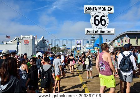 Route 66 End Sign On The Santa Monica Pier.