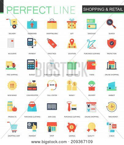 Vector set of flat Shopping and retail icons isolated.