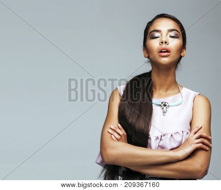 young beauty african american woman with fashion make up, emotional face closeup