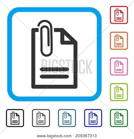 Attach Document icon. Flat gray pictogram symbol inside a light blue rounded square. Black, gray, green, blue, red, orange color versions of Attach Document vector.