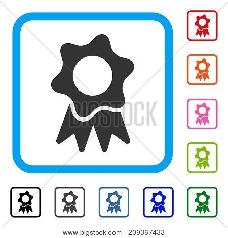 Award Seal icon. Flat gray iconic symbol inside a light blue rounded squared frame. Black, gray, green, blue, red, orange color variants of Award Seal vector. Designed for web and application UI.