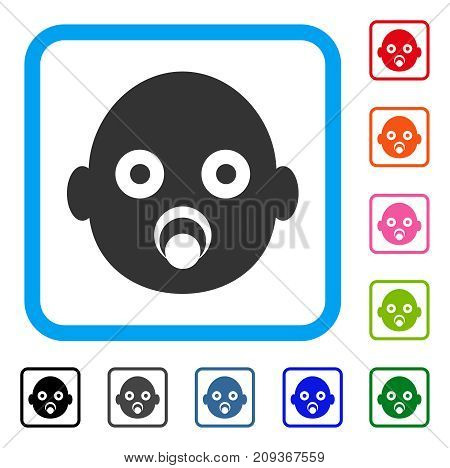 Baby Head icon. Flat grey iconic symbol inside a light blue rounded square. Black, gray, green, blue, red, orange color versions of Baby Head vector. Designed for web and app UI.