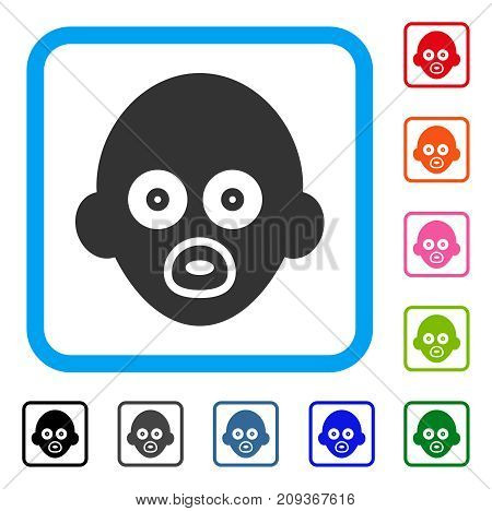 Baby Head icon. Flat gray iconic symbol in a light blue rounded frame. Black, gray, green, blue, red, orange color variants of Baby Head vector. Designed for web and application interfaces.