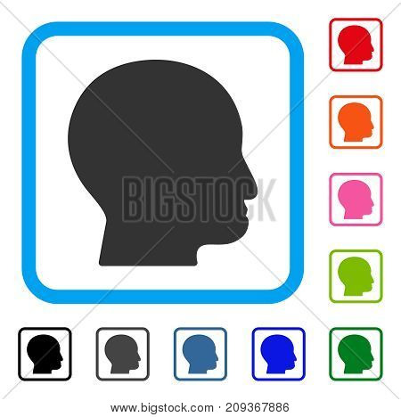 Bald Head icon. Flat grey pictogram symbol in a light blue rounded frame. Black, gray, green, blue, red, orange color versions of Bald Head vector. Designed for web and application user interface.