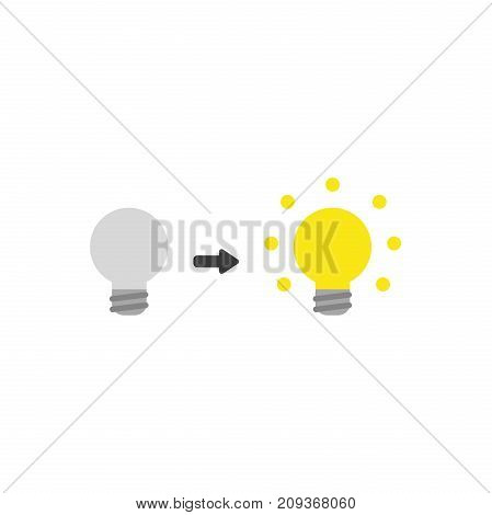 Flat Design Style Vector Concept Of Grey Bad Idea Light Bulb Glowing And Symbolizes Good Idea