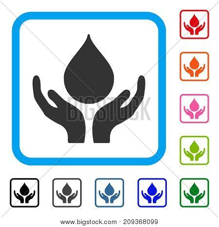 Blood Donation icon. Flat gray iconic symbol inside a light blue rounded rectangle. Black, gray, green, blue, red, orange color additional versions of Blood Donation vector.