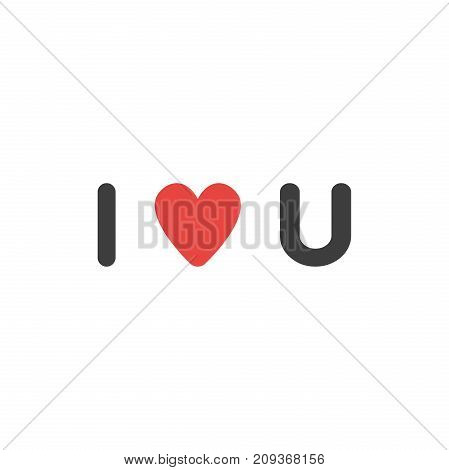 Flat design style vector illustration concept of black and red i love you abbreviation text with red heart symbol icon on white background.